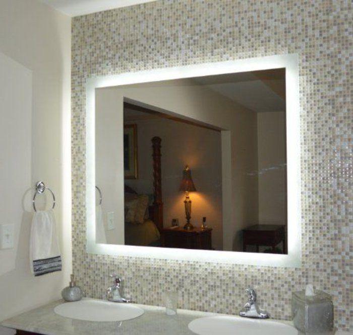 Où trouver le meilleur miroir de salle de bain avec éclairage? LED - salle de bains beige