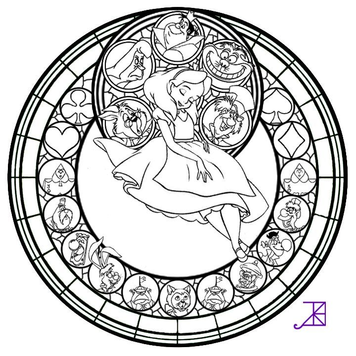 alice stained glass disney coloring pages pinterest alice