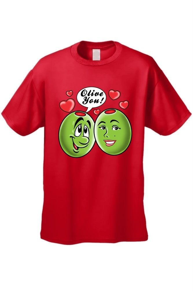 Men's / Unisex T-Shirt Olive You! Funny Hearts Valentine's DAY TOP S-2X 3X 4X 5X