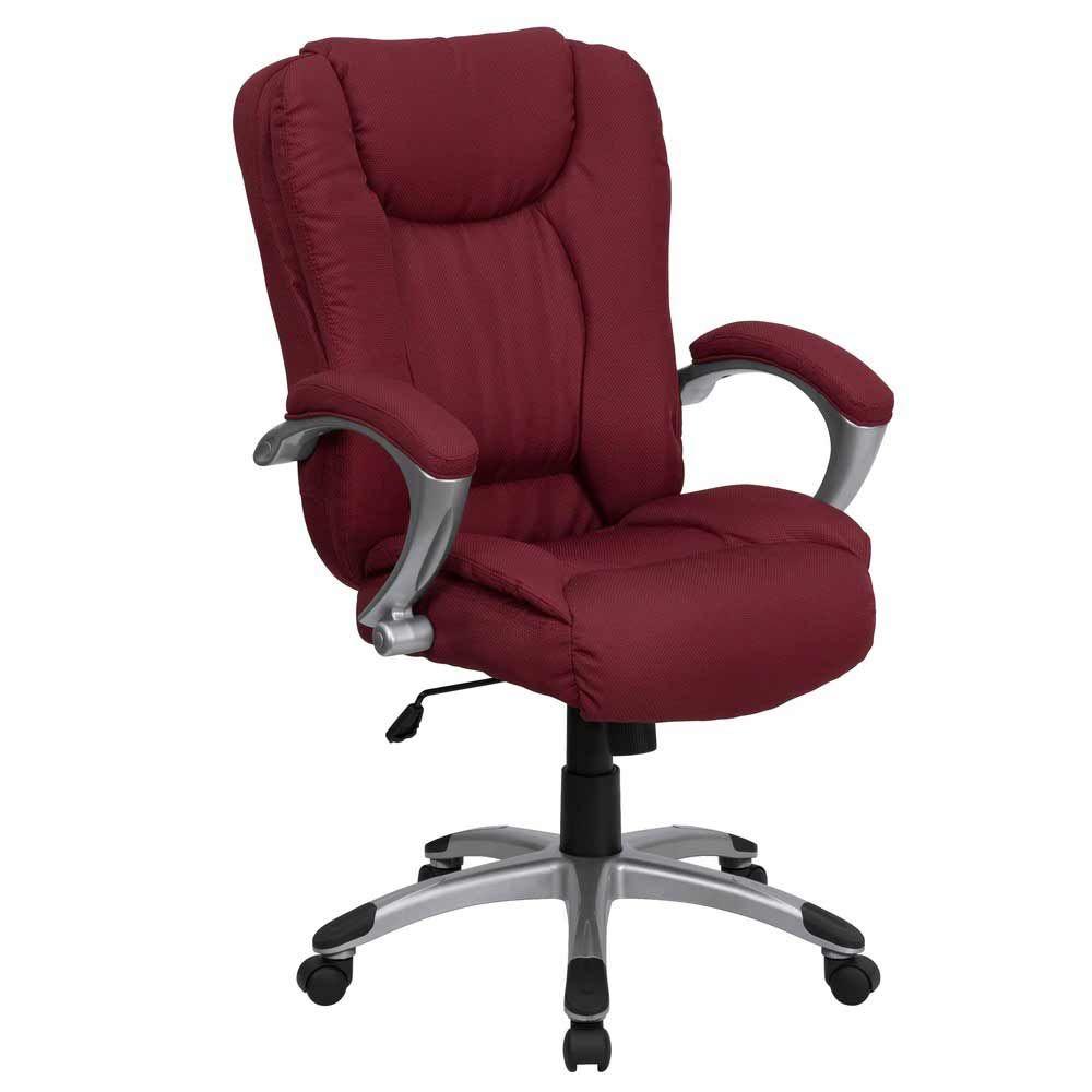 Burgundy high back padded ergonomic luxury office chair in