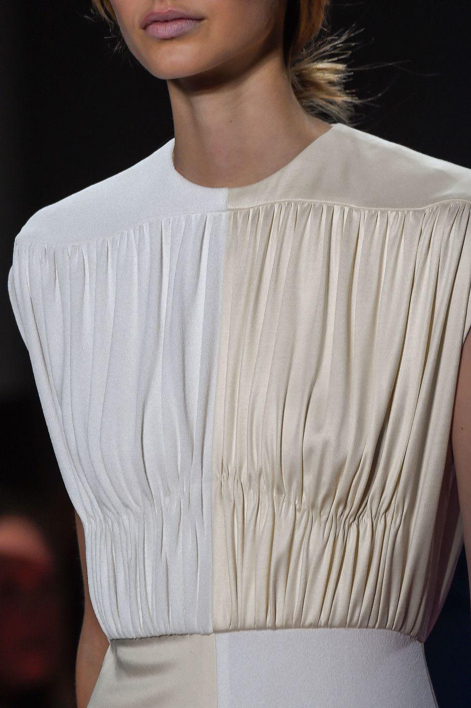Colourblock dress with gathered panels; close up fashion details // Derek Lam Fall 2016
