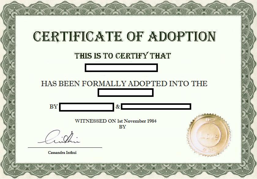 Gutsy image inside printable fake adoption papers