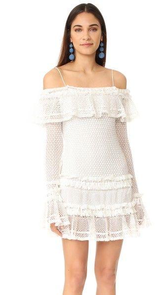 Jonathan Simkhai Ruffle Stretch Cotton Crochet Mini Dress In White Modesens Mini Dress Long Sleeve Short Dress Long Sleeve Mini Dress