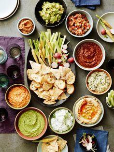 salsa, guac, kopanisti, spinach artichoke dip, tzatziki, goddess dressing and bean dip