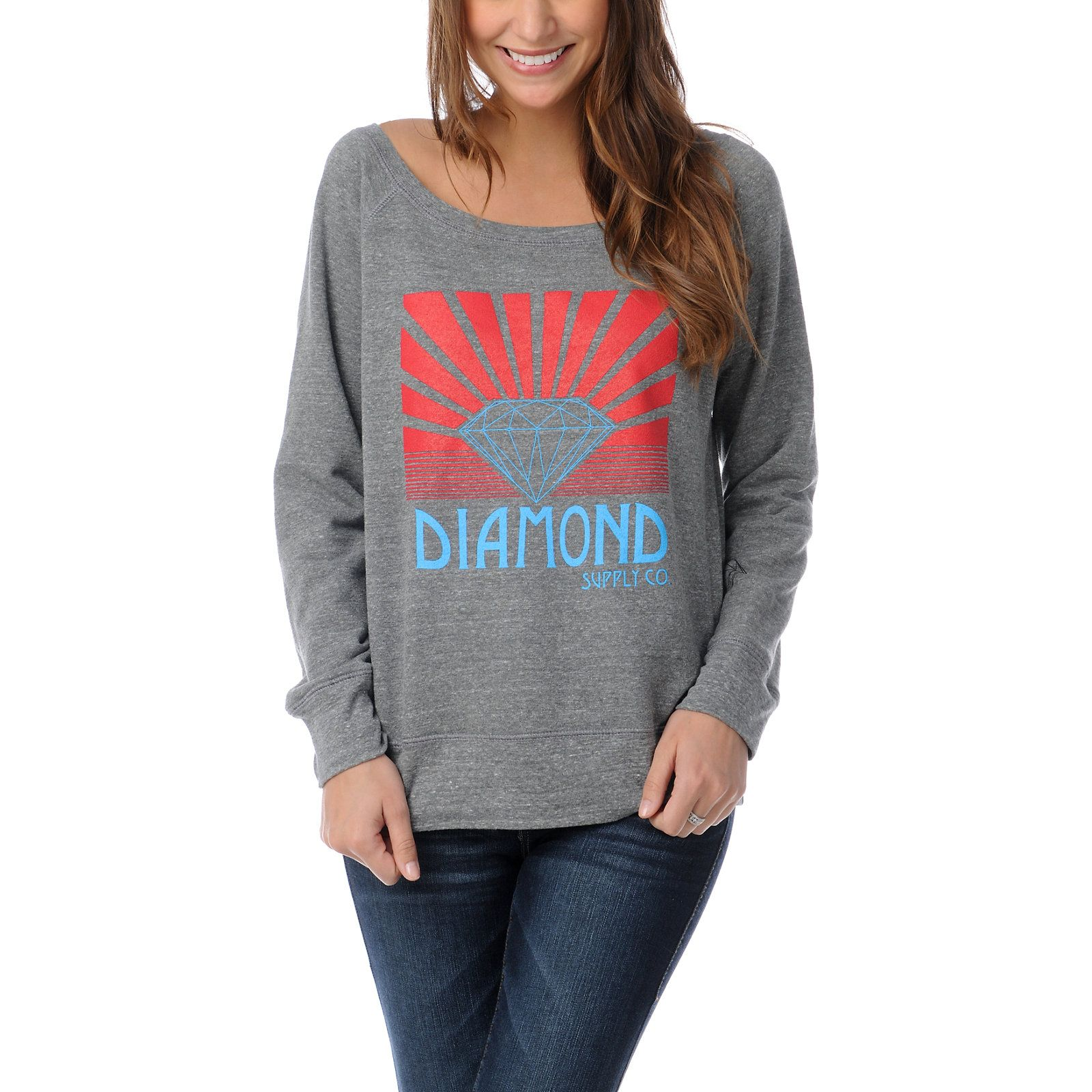 Diamond Supply Shining Girls Heather Grey Crew Neck Sweatshirt at Zumiez : PDP