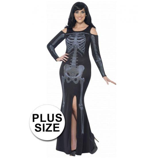 Grote maten skelet jurk voor dames. Skelet jurk met lange mouwen, zij split en open schouders. Dit Halloween kostuum is gemaakt van polyester.