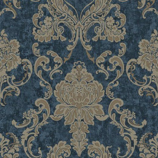 Tgsik Dark Blue Damask Design European Style Non Woven Wallpaper Home Decorations