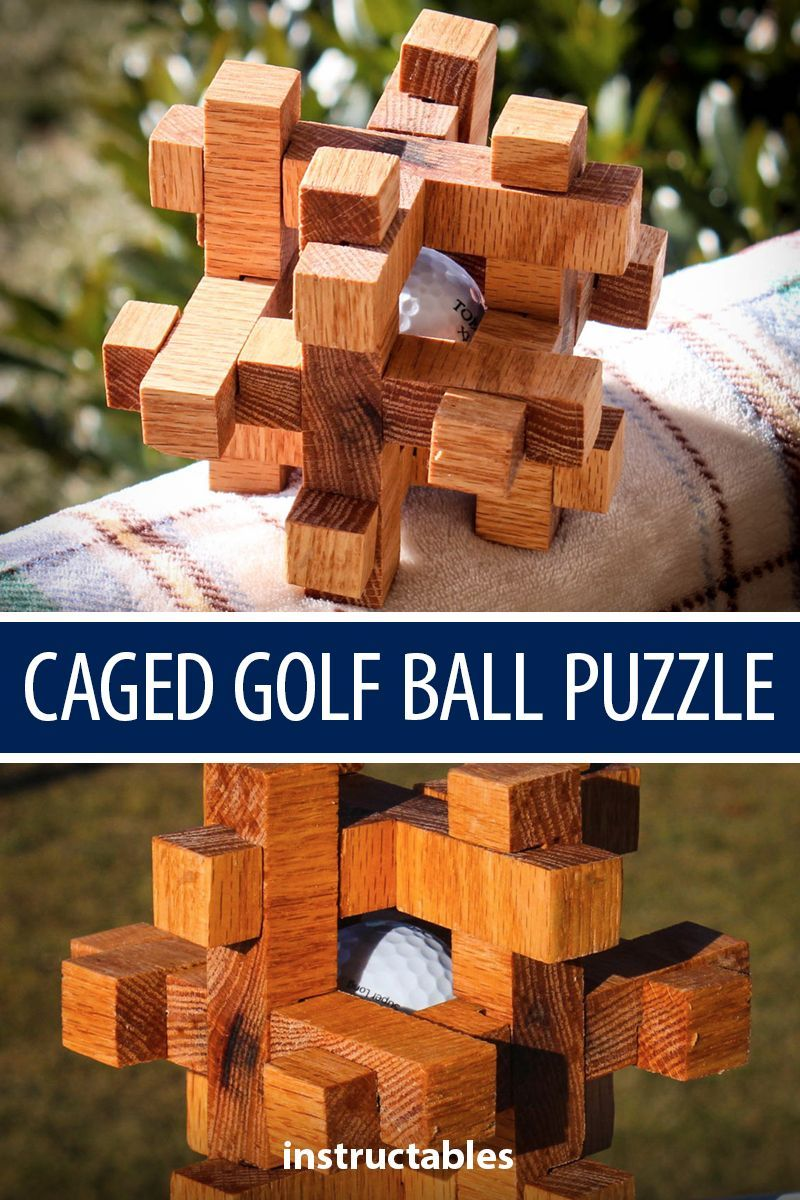 Caged Golf Ball Puzzle Puzzles Wood Toys Wooden Puzzles Puzzle