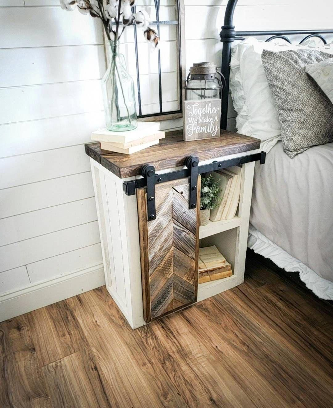 Farmhouse nightstand, rustic nightstand, custom nightstand, herringbone door nightstand, nightstands, savvyfarmhouse nightstands