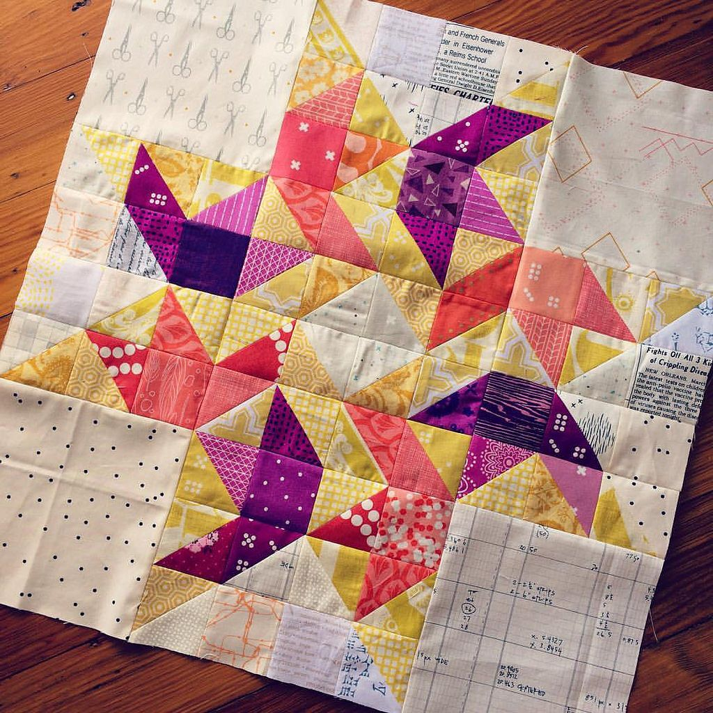 I was wrong about being done with big blocks. I love the Circling Swallows block, though I think it would be more effective if it were a bit less scrappy. #travelingthreadsbee