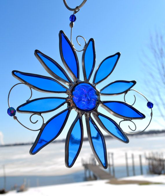 Blue Moon Flower Stained Glass Suncatcher OOAK Abstract