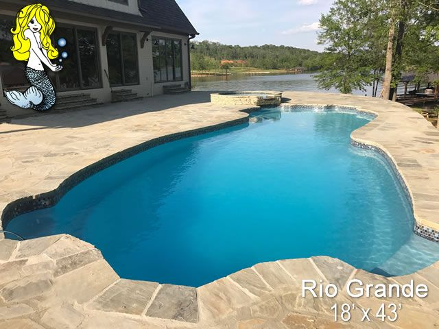 Rio Grande 8 Deep Fiberglass Swimming Pool Featuring 4 Built In Pool Seating Areas 8 Foot Deep End And Large Fiberglass Swimming Pools Pool Swimming Pools