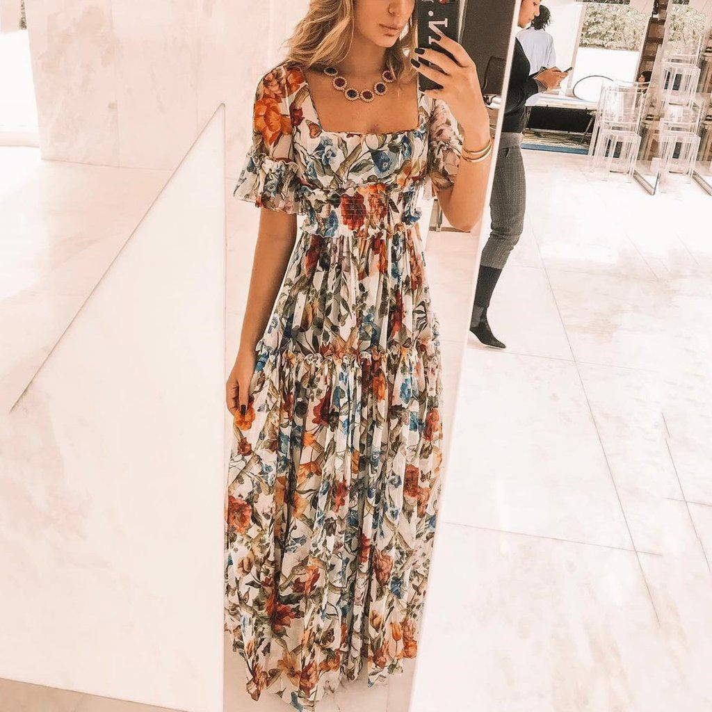 Sexy short sleeves floral print off shoulder maxi dress vestidos