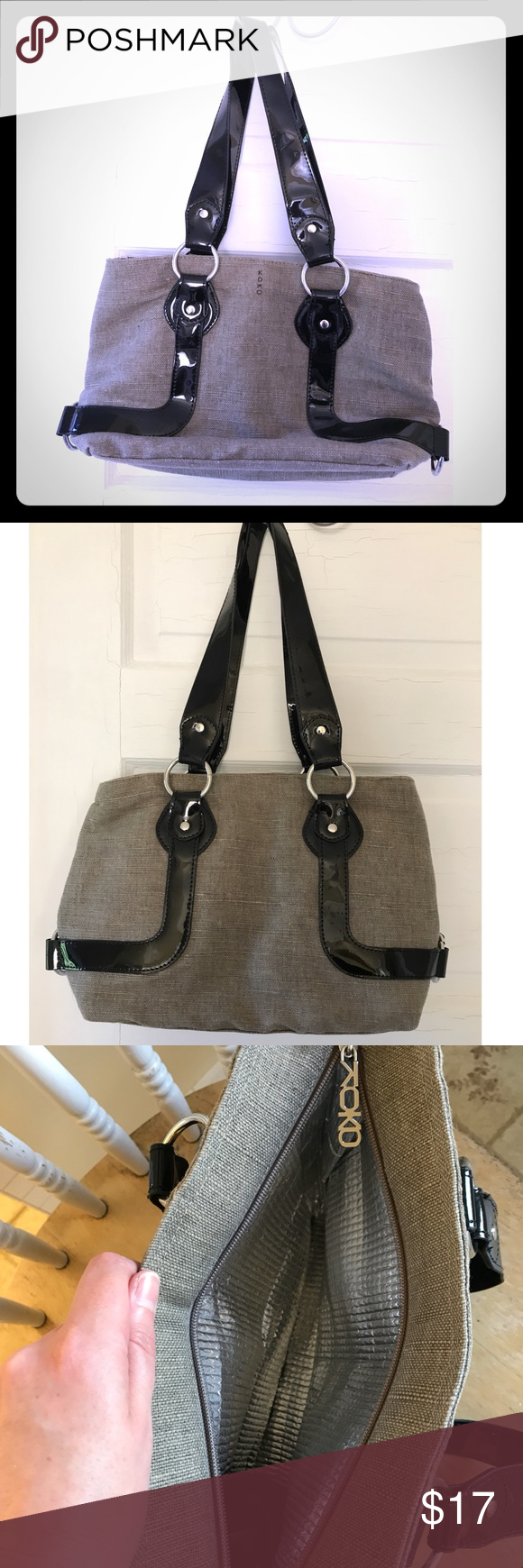 80d259fc1 Crochet Shoulder Bags · Schools · Koko insulated lunch box Adorable black  and gray insulated lunch box with patent leather straps/