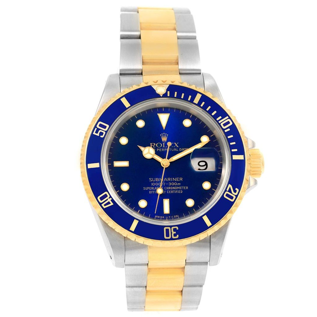 rolex submariner blue dial oyster bracelet steel gold watch