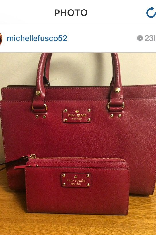 2edddae66e7 Kate spade Wellesley Durham bag in red plum with matching wallet ...
