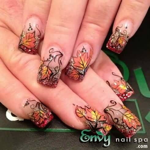 Glitter Tip Nails With Autumn Leaves Nail Art Design - Glitter Tip Nails With Autumn Leaves Nail Art Design Nail Art