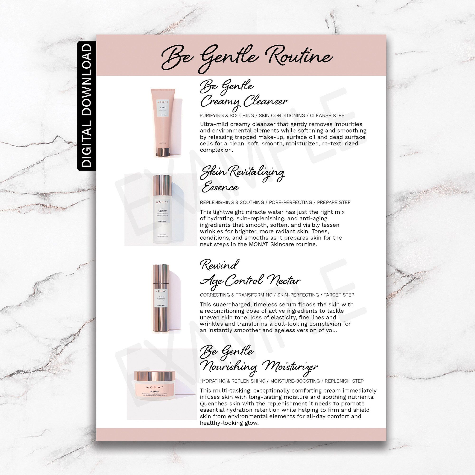 Monat Skincare Be Gentle Routine Information Card Monat Etsy Monat Hair Monat Soothing Skin