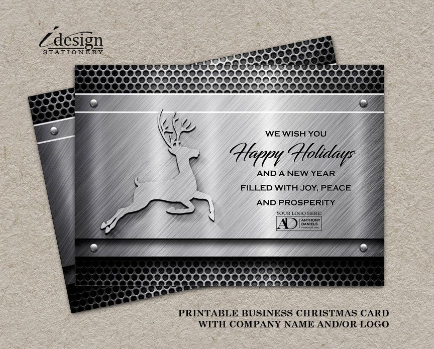 Printable Metal Holiday Greetings Cards With Company Logo For ...