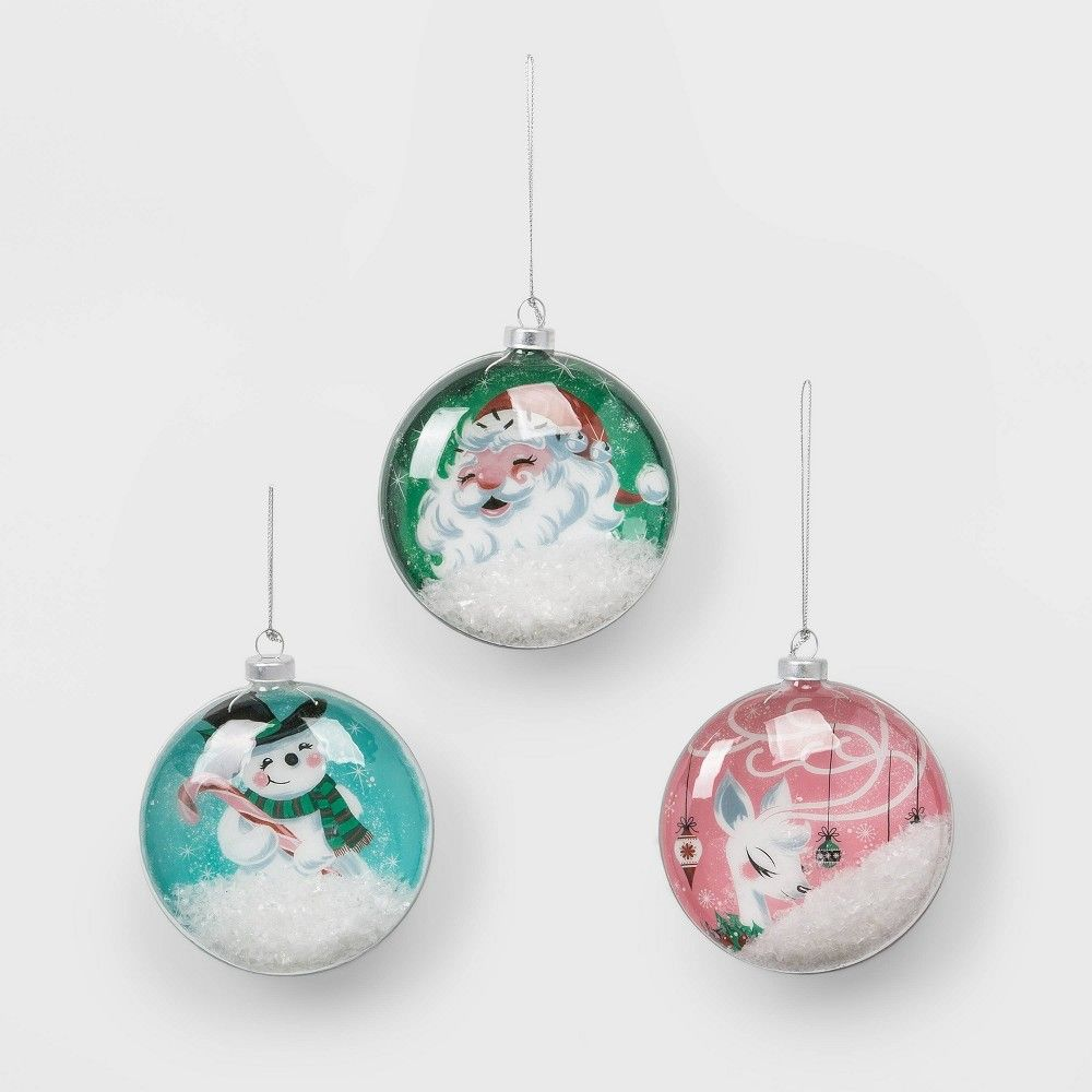 10ct Retro Glass Christmas Ornament Set Red Green And Silver