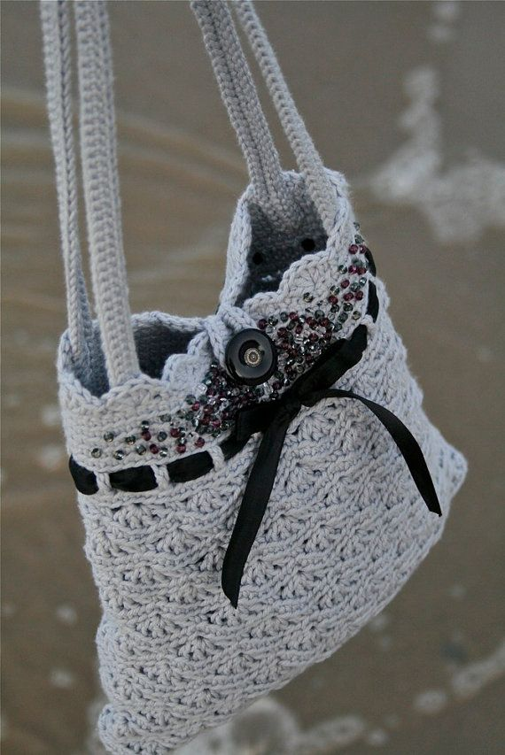 Grey Crochet Purse - Instant download PDF PATTERN - Permission to Sell Finished… #pdfpatterns