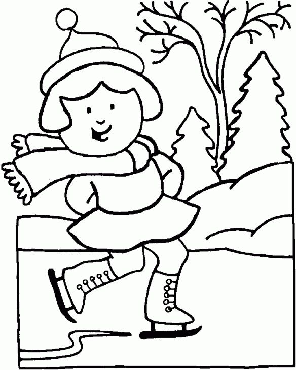 A Girl Happily Ice Skating On Frozen Lake In Winter Coloring Page Letscolorit Com Sports Coloring Pages Coloring Pages Winter Coloring Pages Inspirational