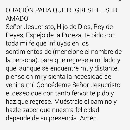Oracion para que regrese el ser amado | Oracion para que regrese ...
