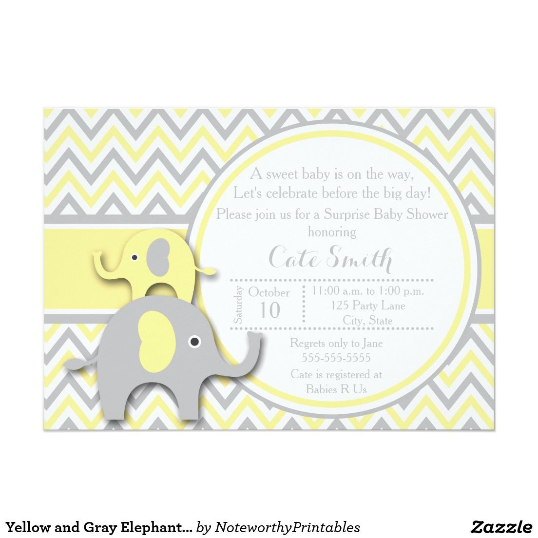 Yellow and Gray Elephant Baby Shower Invitation | baby shower ideas ...