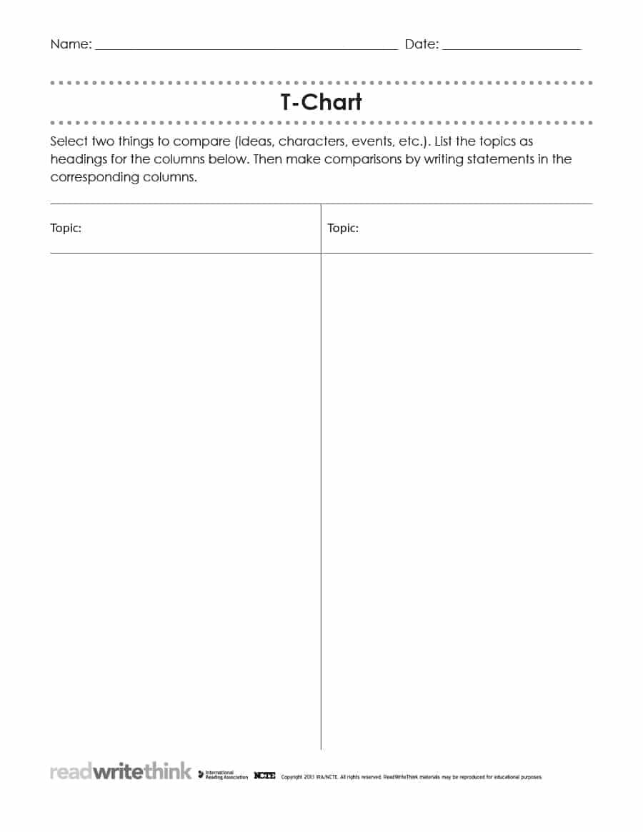 photo about Printable T Chart identified as 30 printable t-chart templates illustrations - template archive