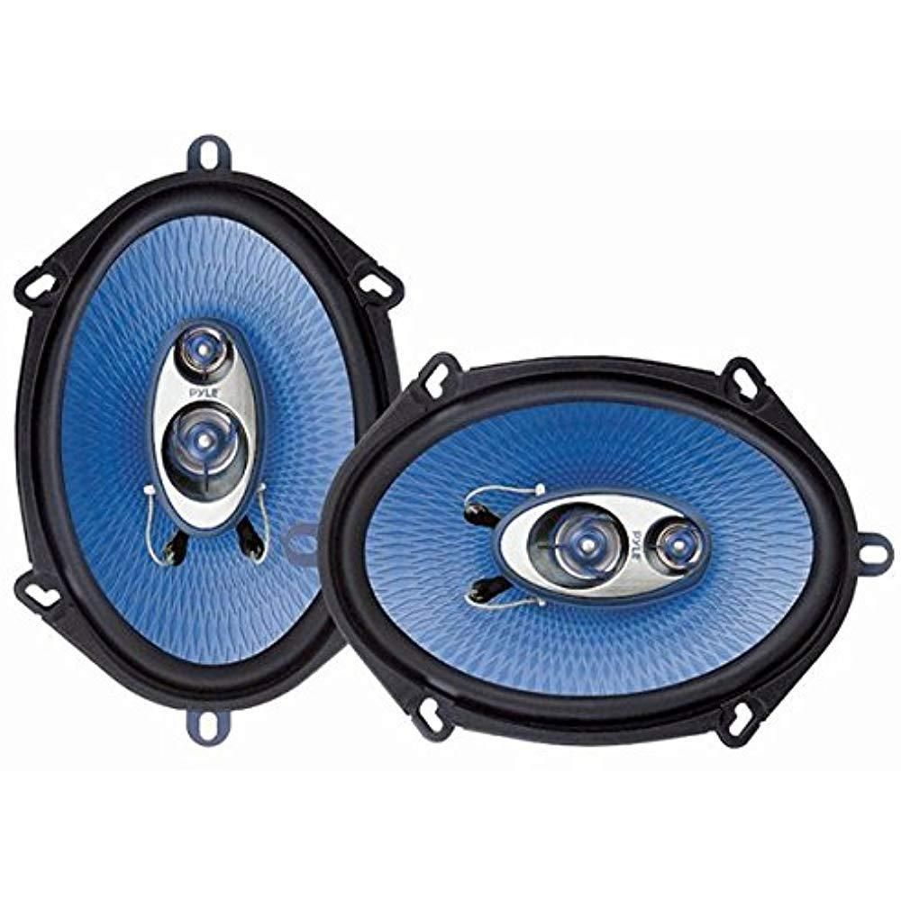 """Pyle 5"""" x 7"""" Car Audio Speakers Pair Blue Poly Injection"""