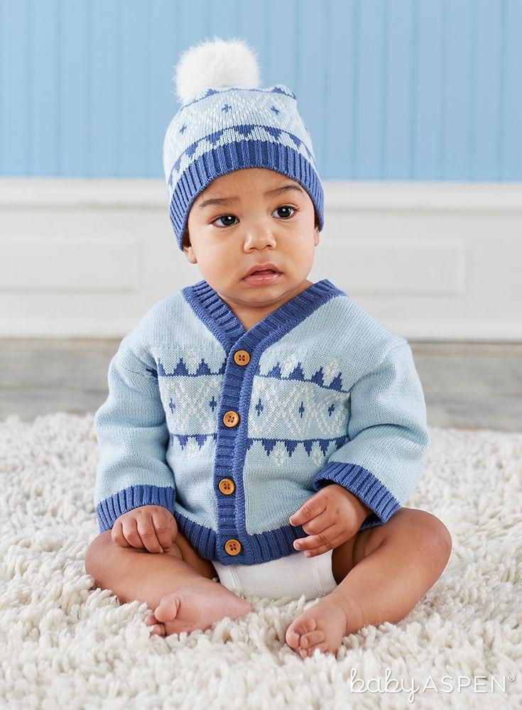 Blue Fair Isle Cardigan and Pom Pom Hat | Pom pom hat, Baby aspen ...