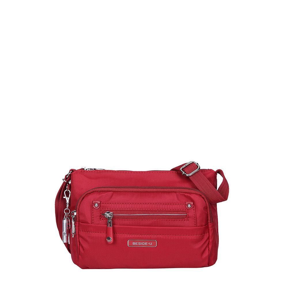 Hemet Leather Trimmed Small Travel Crossbody Bag in Jester Red by Beside-U #crossbodybag #BesideU