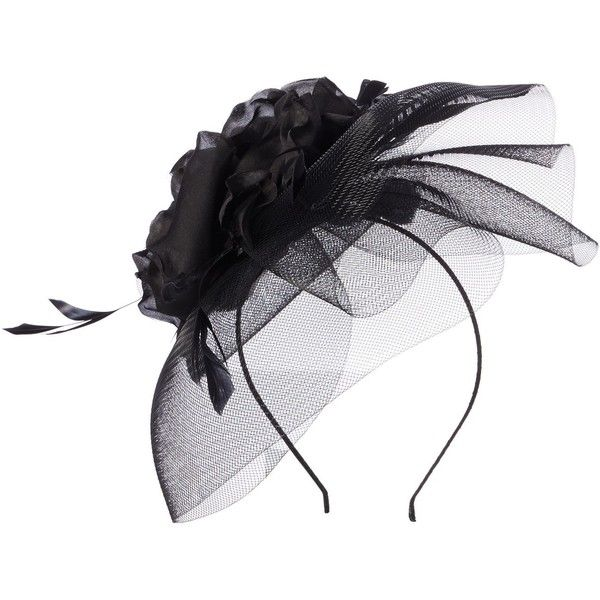 Suzanne Bettley Floral Crinolin Headpiece ($76) ❤ liked on Polyvore featuring accessories, hair accessories, hats, black, floral hair accessories, fascinator hat and hair fascinators