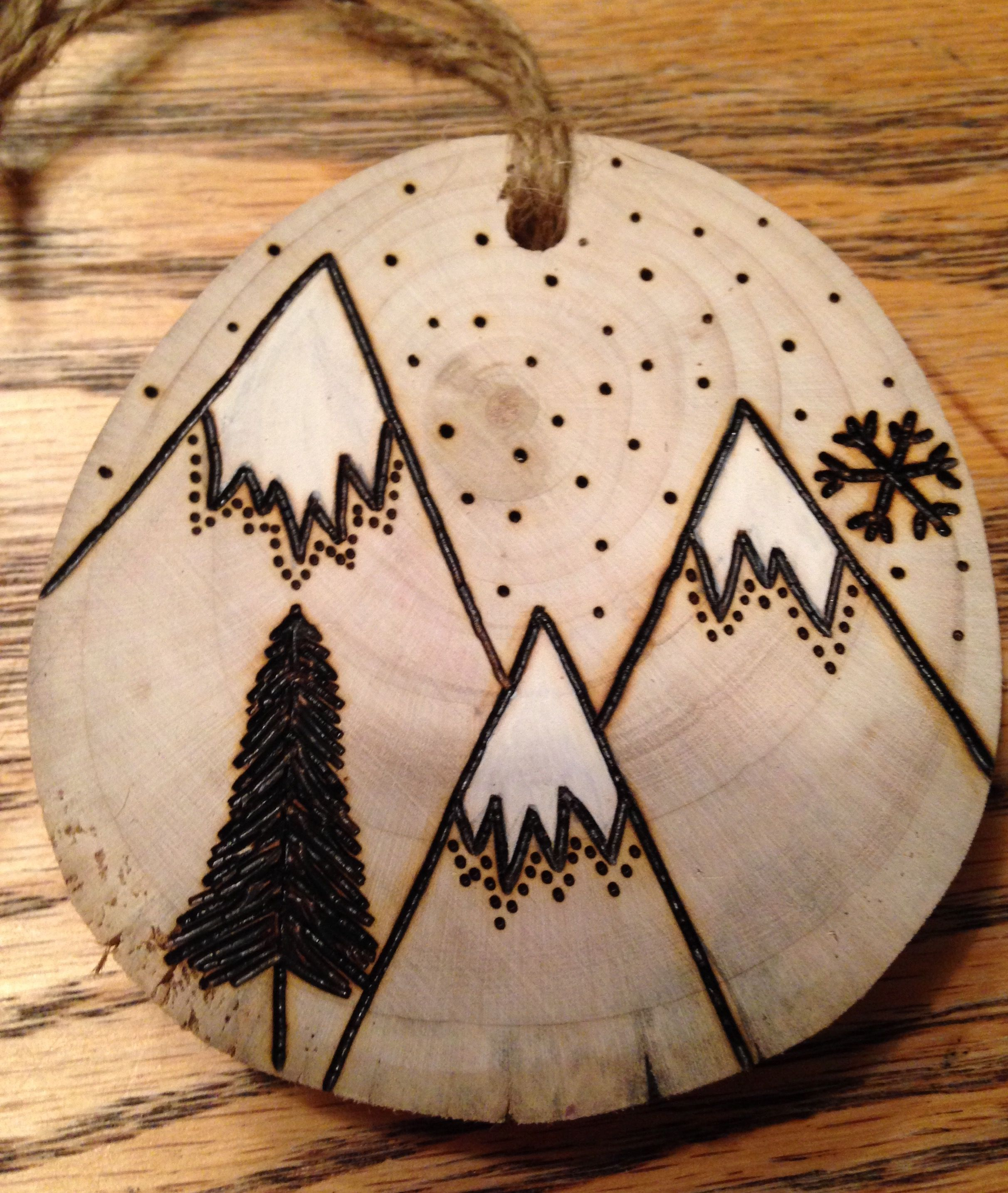 Rustic Hand Painted Mountain Wood Burned Ornament