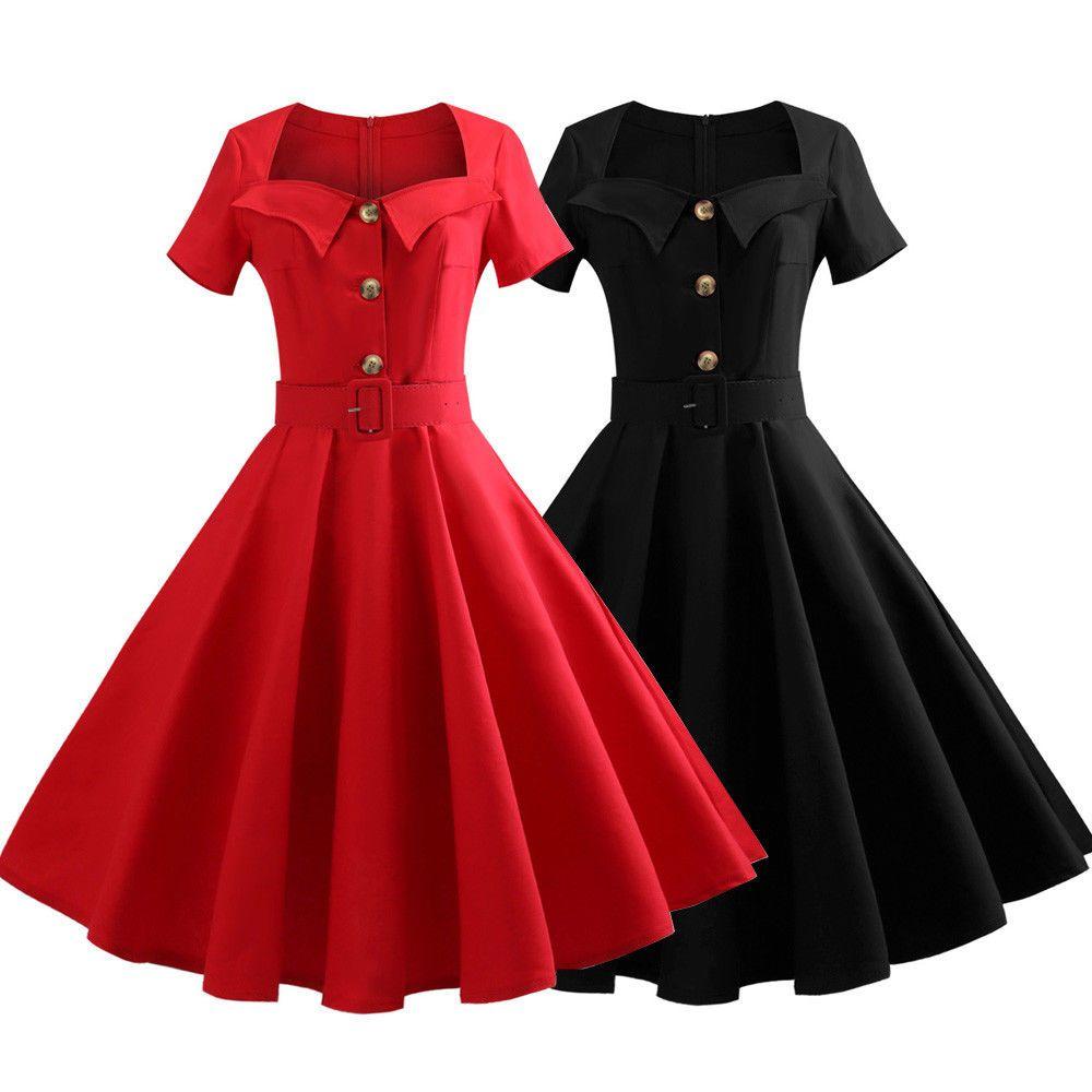 S 5xl Plus Size Women Lady Vintage Dress 50 S Retro Pinup Prom Party Swing Dress Red Swing Dress Vintage Party Dresses Vintage Dresses 50s Retro [ 1000 x 1000 Pixel ]