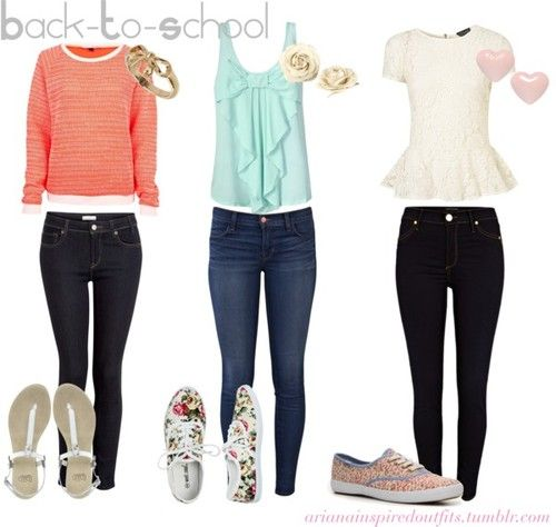 Teen Fashion  C2 B7 Requested Ariana Grande Inspired School Outfits Dark Bottoms Bright Cute Tops