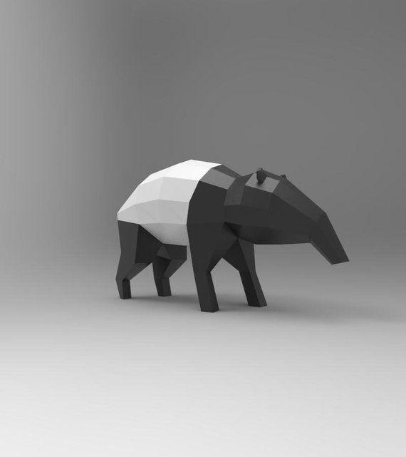 Tapir Malayan Escultura Decorativa De Mesa Papercraft Diy - Escultura-decorativa