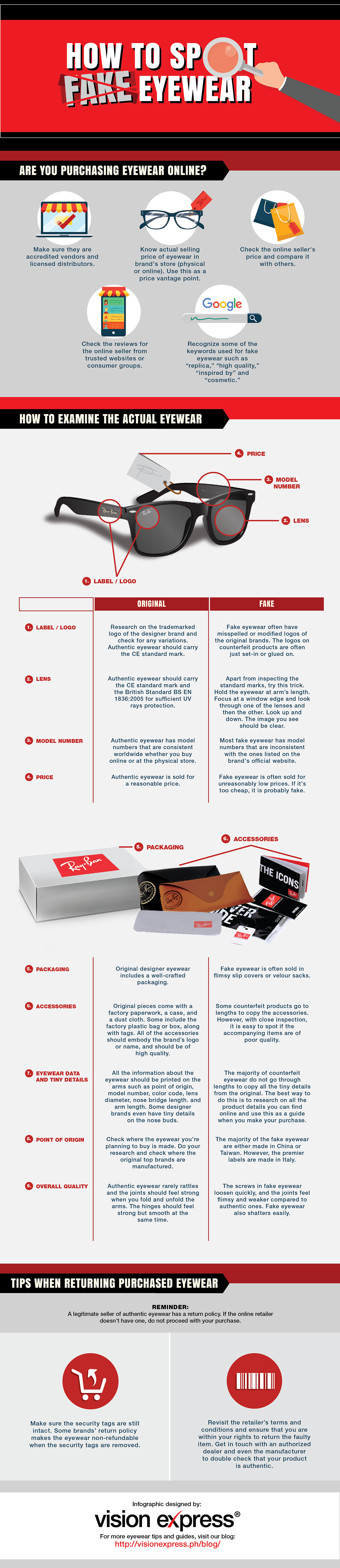 How to Spot Fake Eyewear #infographic