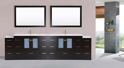 97 Over 120 Hermosa Espresso Double Modern Bathroom Vanity With 2 Side Cabinets And Integrated Sinks B Modern Bathroom Vanity Double Vanity Bathroom Vanity
