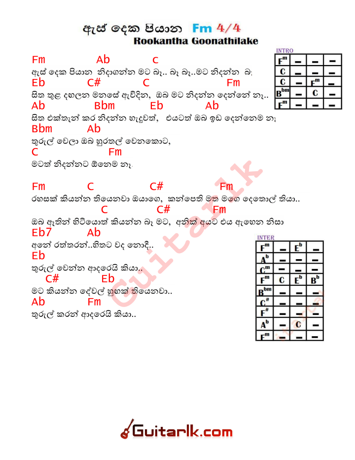 Rookantha Gunathilake Archives - Sinhala Guitar Lessons with Tabs ...