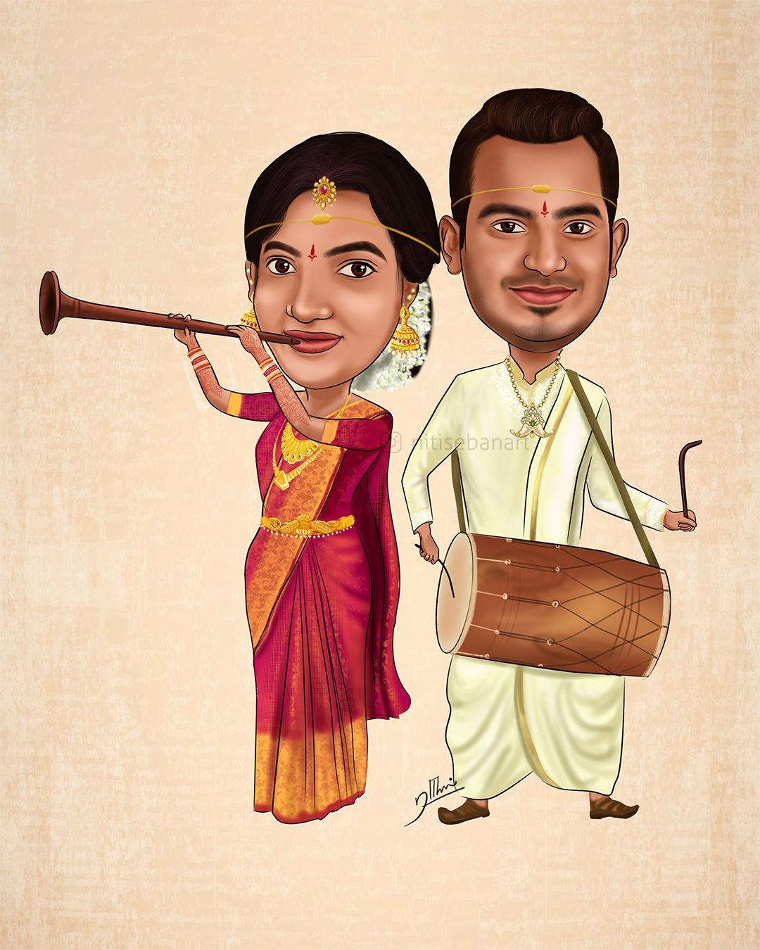 Hindu Wedding caricature, Custom Caricatures illustration