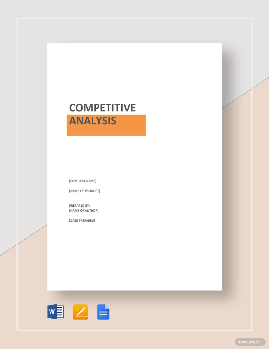 Product Competitive Analysis Competitive Analysis Templates