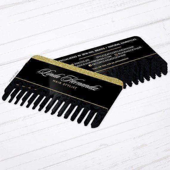 Unique Hair Stylist Business Cards • Comb Shaped Die-Cut Cards • Design and Printing • 200, 500, 1000, 1500 | FREE Shipping |