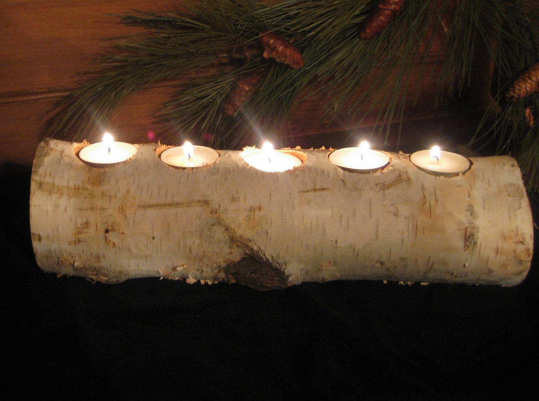 2 Birch Log Tea Light Candle Holders Home Decor Wedding