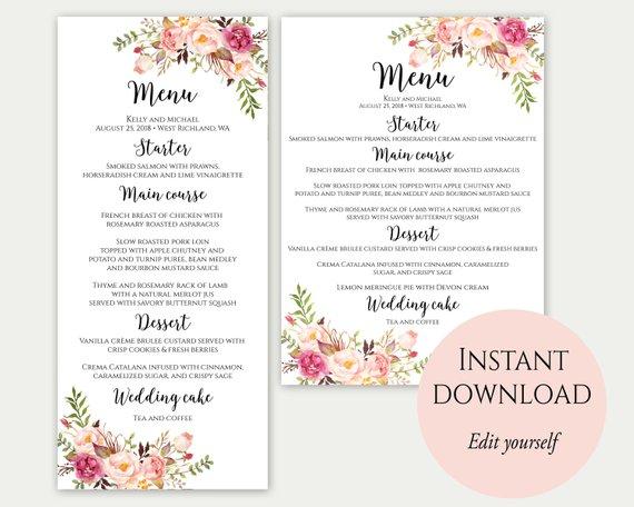Pin Di Wedding Menu Cards