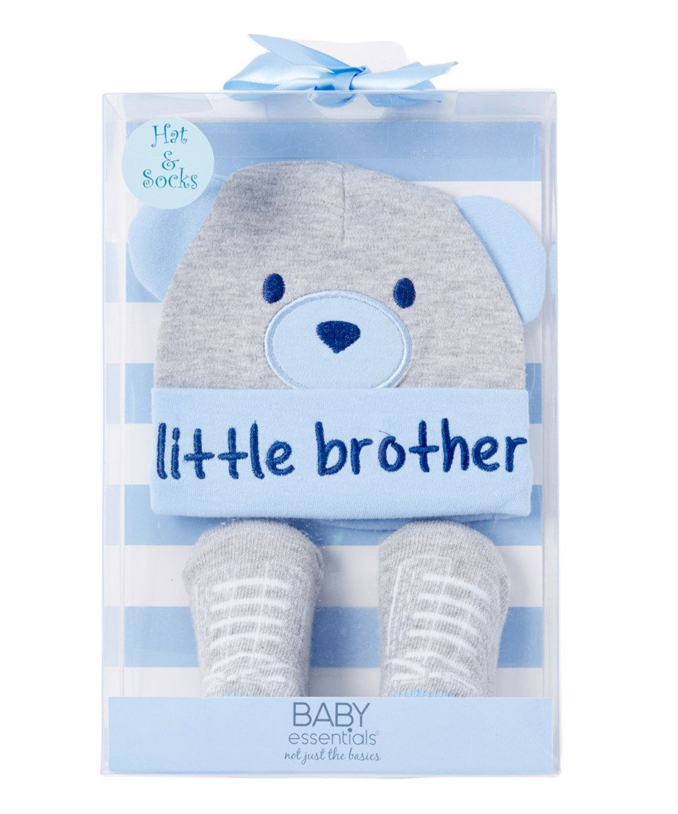 Love this Baby Essentials Gray Bear  Little Brother  Hat   Sock Gift Set -  Infant by Baby Essentials on  zulily!  zulilyfinds c8935f8e842