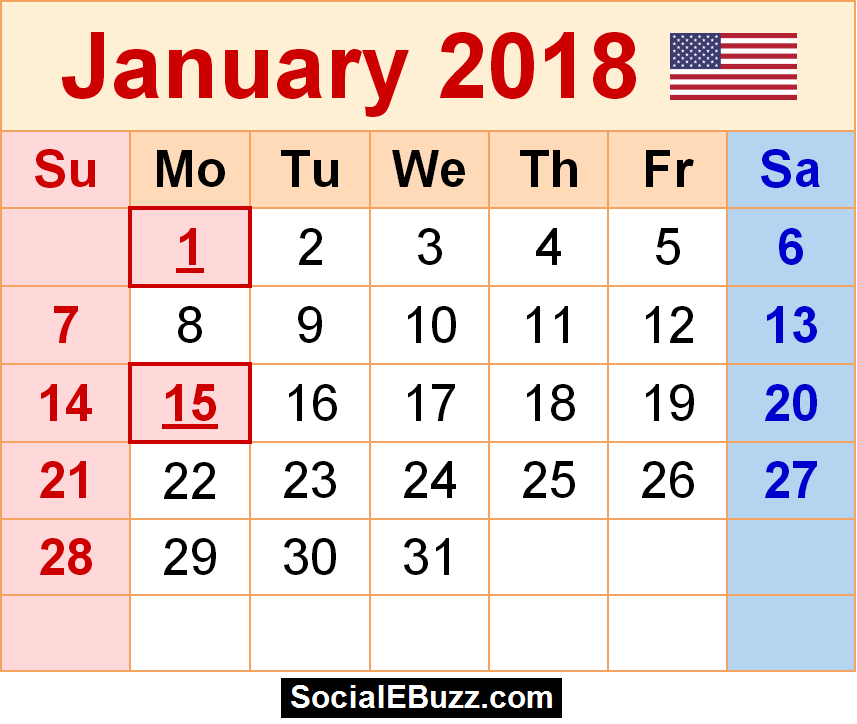 calendar page january 2018