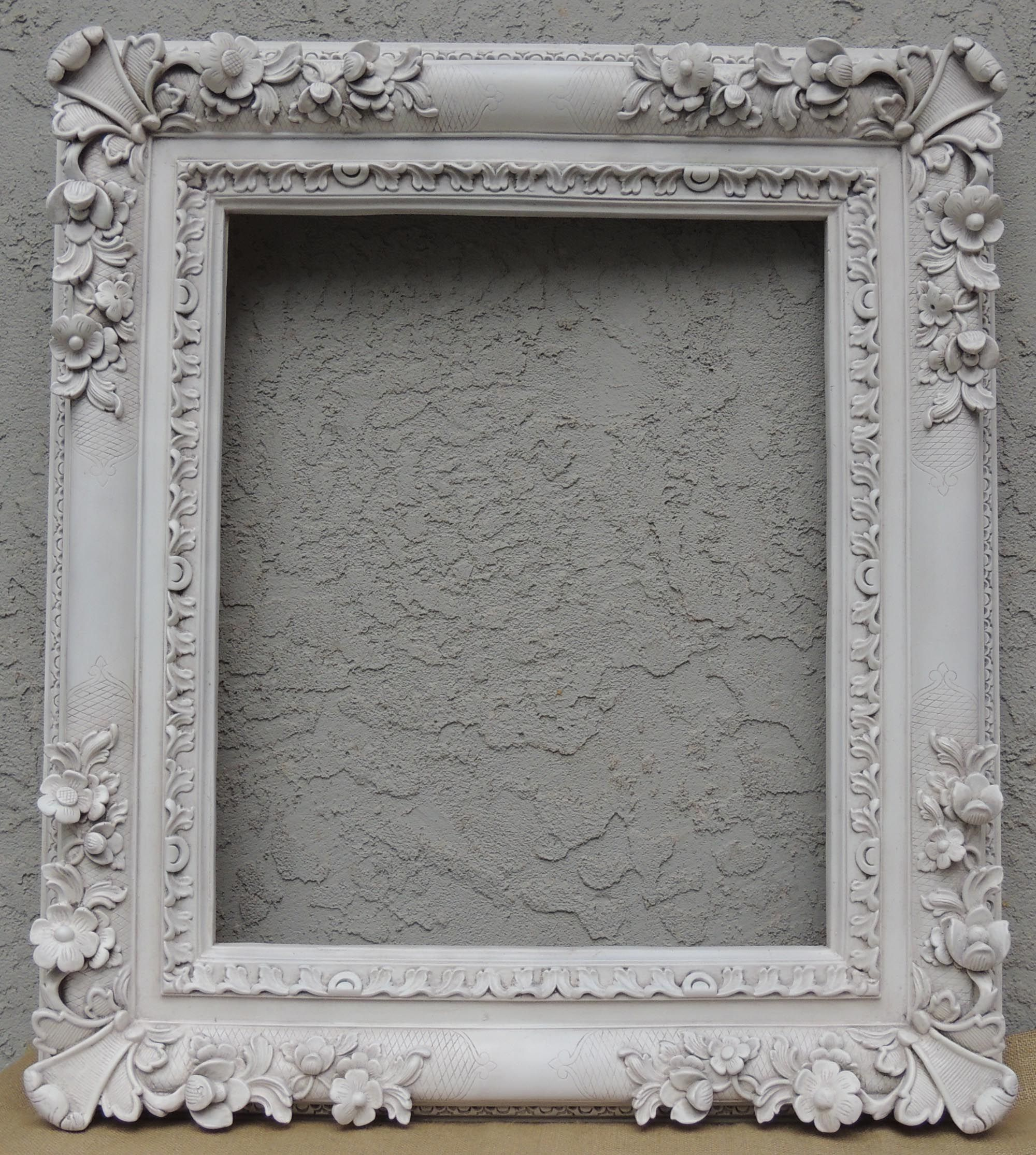 Magnificent Large 20 X 24 Dimensional Floral White Frame Perfect