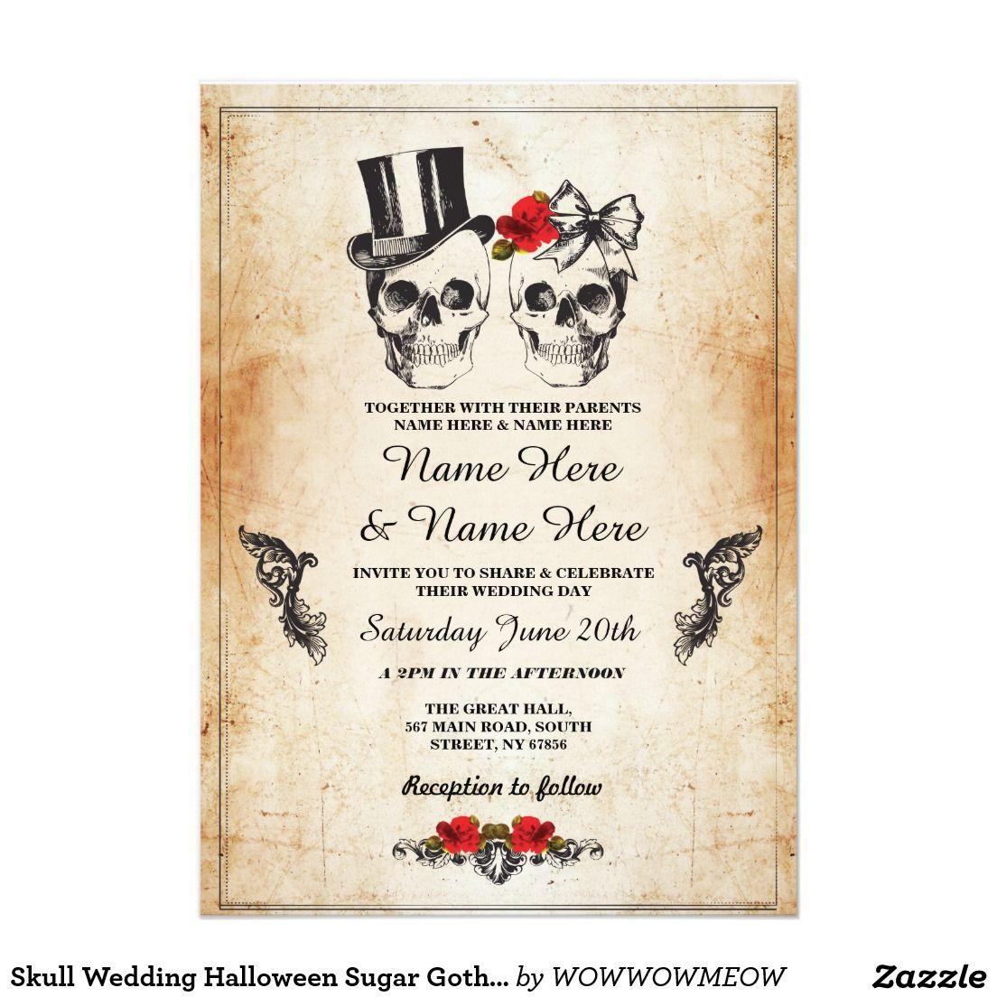 Hauptfarbdesign-bilder draußen skull wedding halloween sugar gothic floral invite in   ideen