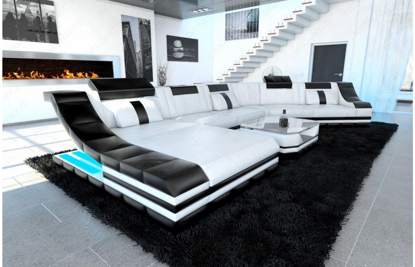 Cool Leder Wohnlandschaft TURINO CL mit LED in schwarz wei exklusiv bei Sofa Dreams Leder Wohnlandschaft TURINO CL mit LED Pinterest Wohnlandschaft